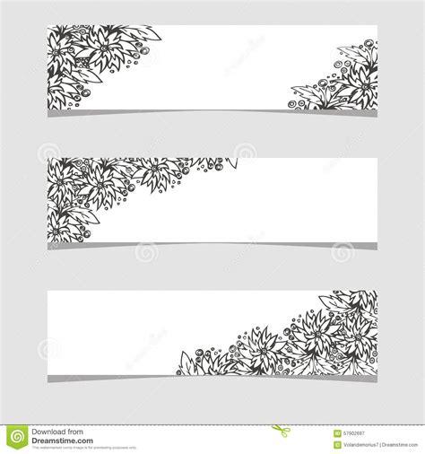 drie banners met zwart witte bloemen vector illustratie illustratie bestaande uit summer