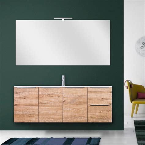 bagno effetto legno mobile bagno moderno wood 140 cm sospeso in legno lavabo