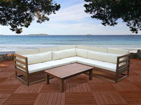 canapé jardin bois salon de jardin en bois d 39 eucalyptus 5 places et une