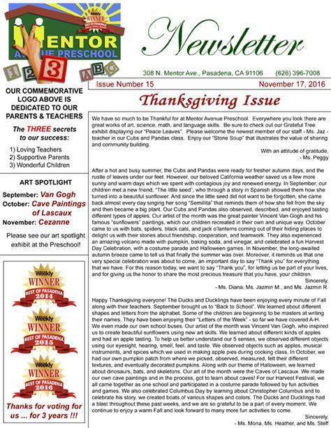 mentor avenue preschool new newsletter nov 2016 new 589 | newsletter november 2016 web orig
