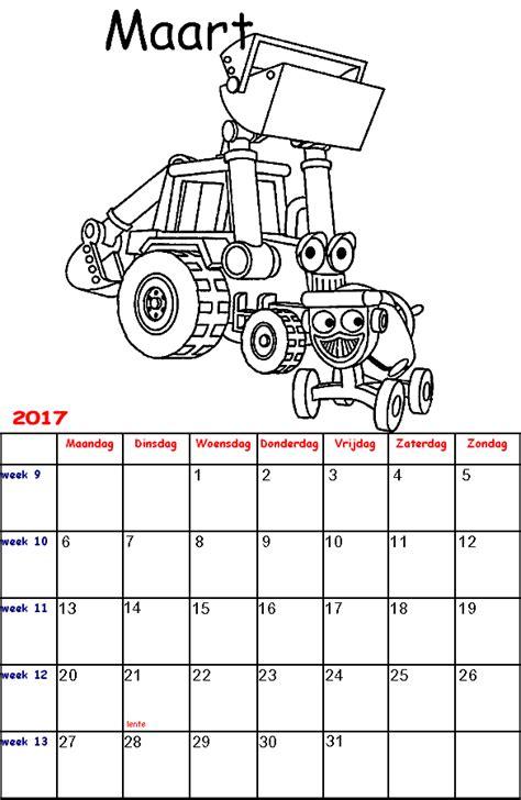 Kleurplaat Kalender Maart by Kleurplaten Voor Kinderen Bob De Bouwer Kalender 2017