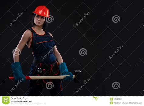 Sex Equality And Feminism Girl In Safety Helmet Holding