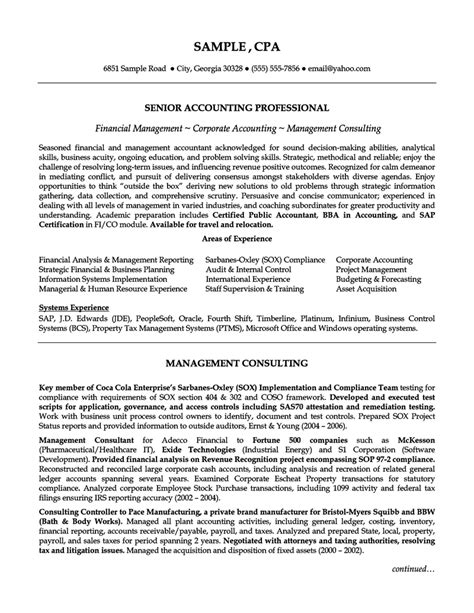 senior accounting professional resume exle resumes