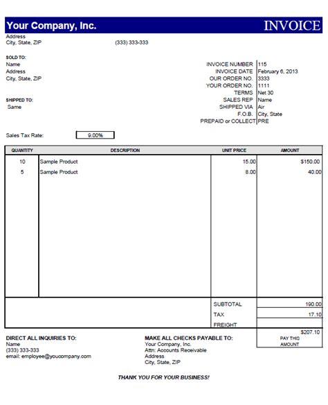 invoice template sadamatsu hp