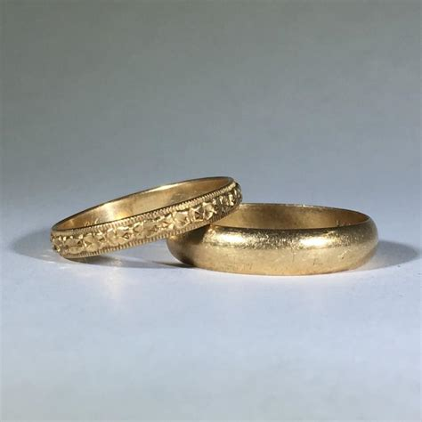 vintage gold wedding band set his and hers art nouveau
