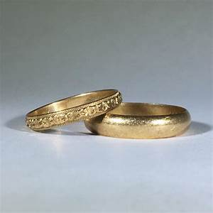 vintage gold wedding band set his and hers art nouveau With vintage filigree wedding ring sets