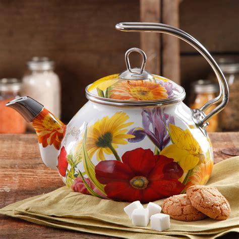 Kitchen Living Tea Kettle by Flower Garden Tea Kettle Pioneer White Enamel