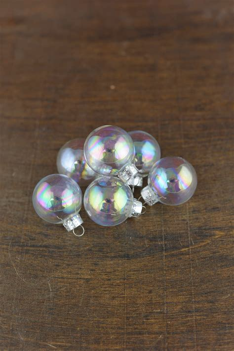 clear glass  ornament balls iridescent mm
