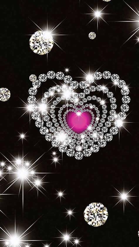 heart diamonds  black wallpaper heart wallpaper bling