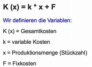 Variable Stückkosten Berechnen Formel : kosten erl sfunktion ~ Themetempest.com Abrechnung