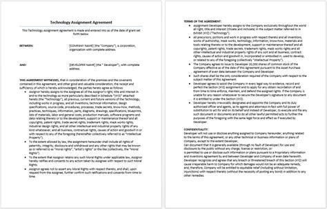 technology assignment agreement template word templates