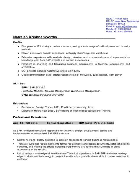 Ibm Resume by Ibm H1b Resume Natraj
