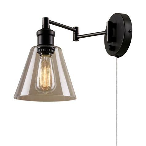 small wall l plug in globe electric leclair 1 light dark bronze plug in or