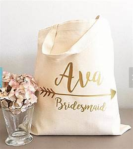 set of 6 personalized name bridesmaid tote bags wedding With personalized wedding gift bags