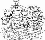 Noah Flood Ark Coloring Cartoon Bible Activities Nice sketch template