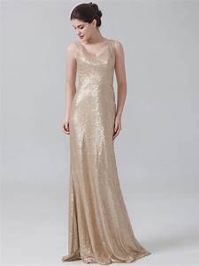 champagne sequins bridesmaid dress 2016 sequins v neck With wedding maid of honor dresses