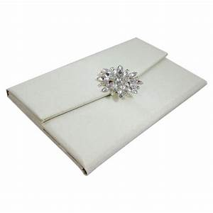Star brooch embellished ivory silk covered luxury wedding for Silk envelope wedding invitations
