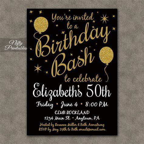 Printable Birthday Invitations Black Gold Glitter 20 21 30th