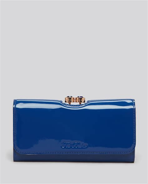 lyst ted baker wallet mirrored leather  blue