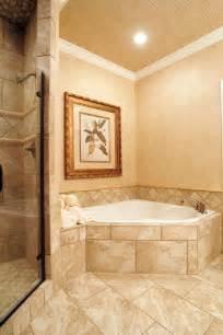 Corner Soaking Tub  Tile Surround Master Bathroom