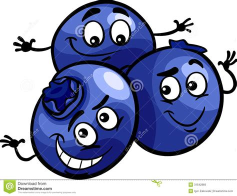 Funny Blueberry Fruits Cartoon Illustration Stock Vector