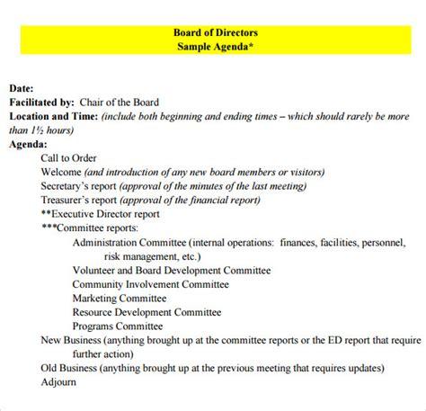 non profit board meeting agenda template board meeting agenda 9 free sles exles format