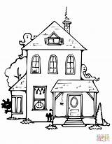 Haunted Coloring Pages Halloween Drawing Printable Houses Spooky Easy Template Getdrawings Roof Flat Mobile Delightful Templates Entitlementtrap Supercoloring Sketch Categories sketch template