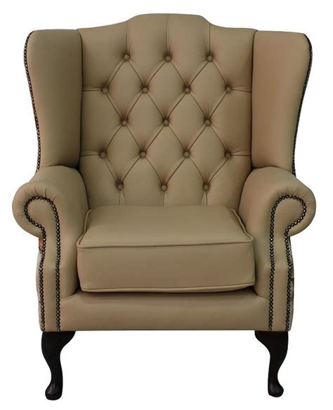 ivory leather chesterfield wing chair designersofas4u