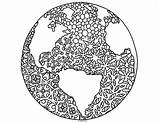 Earth Coloring Globe Zentangle Pamela Kennedy sketch template