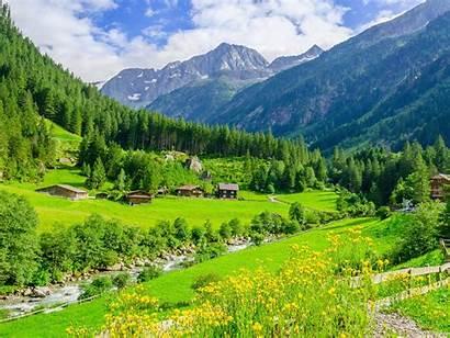 Alpine Mountain Austria Landscape Meadows Desktop River