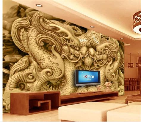 wallpaper  room wall  wallpaper wood carved dragon