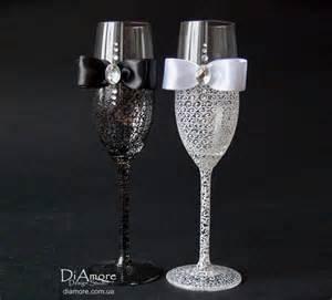 wedding toasting flutes black and white personalized wedding set chagne flutes mr