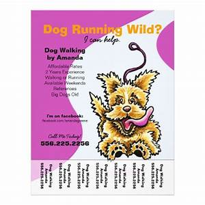 dog walker walking leashed terrier tear sheet flyer zazzle With dog walking flyer template free