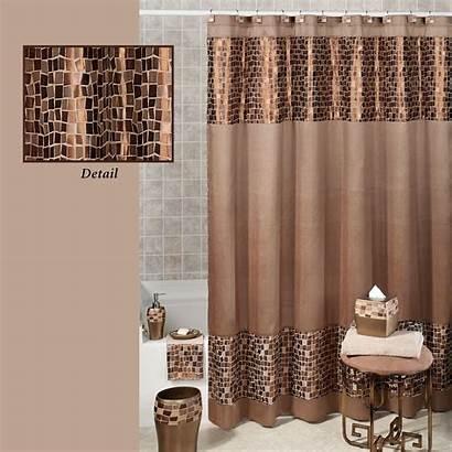 Shower Curtain Curtains Bronze Mosaic Brown Stone