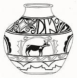 Pot Indian Pottery Native Motif Coloring Nolahooks Leaf Patterns Templates Template Nola sketch template