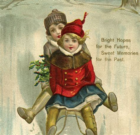 vintage  year sled image cute  graphics fairy