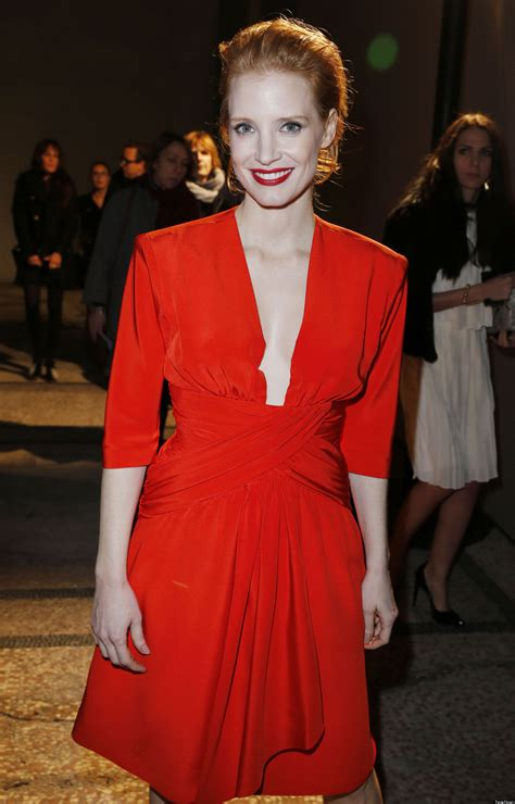 jessica chastain flaunts cleavage  plunging red dress