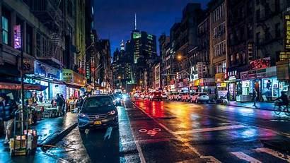 Night York Street Chinatown Usa Rainy Manhattan