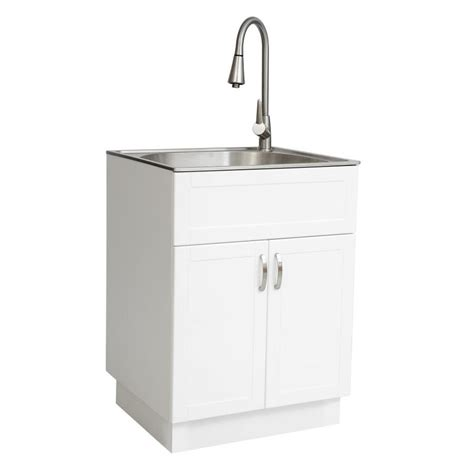 stainless steel freestanding laundry sink shop westinghouse 21 34 in x 24 17 in 1 basin white