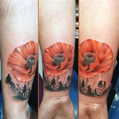 poppy tattoo designs  men remembrance flower ink