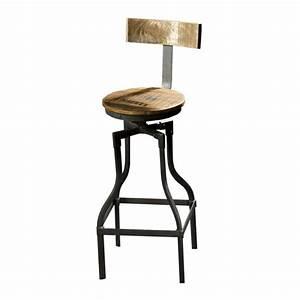Tabouret Avec Dossier : tabouret de bar avec dossier en bois et m tal iron ~ Dallasstarsshop.com Idées de Décoration