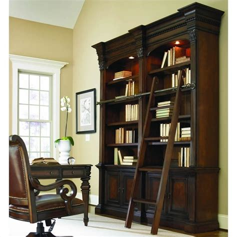 bookcase with ladder and rail european renaissance ii double bookcase with ladder and