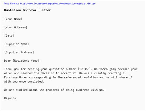quotation approval letter