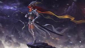 Art, Fantasy, Girl, Armour, Sword, Wallpapers, Hd, Desktop, And, Mobile, Backgrounds