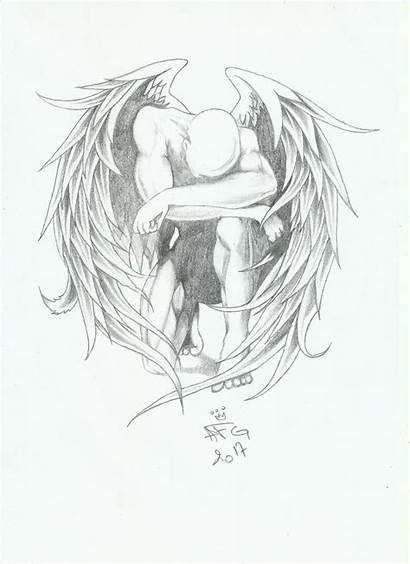 Drawing Sad Angel Drawings Sketches Sketch