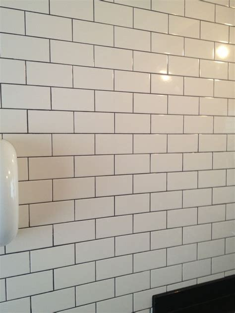 white subway tile with gray grout our house