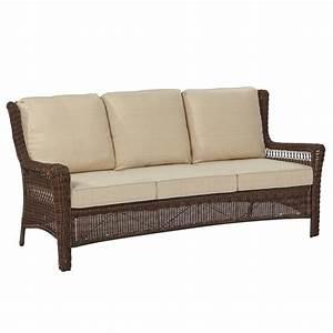 Hampton bay park meadows brown wicker outdoor sofa with for Outdoor sectional sofa metal