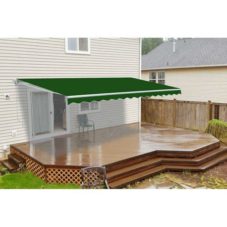 aleko retractable awning ft  ft    solid green patio awning walmart canada