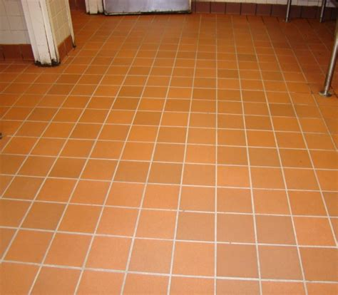 commercial kitchen tile floor after cleaned grout and