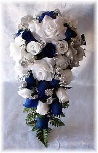 ROYAL BLUE Horizon Wedding Bouquet Cascade 21pc WHITE Silver